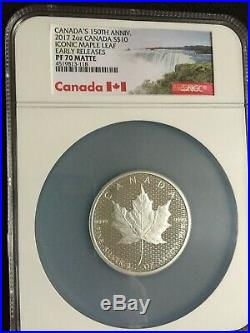 2017 Canada $10 2 oz. Matte Proof Silver Canada 150th Maple Leaf NGC PF70 ER