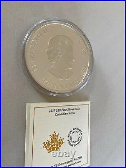 2017 Canada $50 Canadian Icons Maple Leaf Colorized 5 Oz Silver coin w box COA