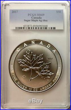 2017 Canada $50 Silver Sugar Maple Leaf 10 oz. PCGS MS-69