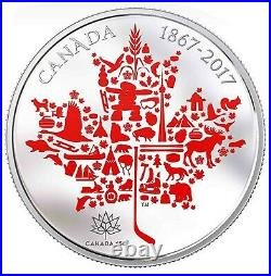 2017 Canada S$50 Canadian Icons Maple Leaf Colorized 5 Oz Silver ER NGC PF70 UC