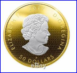 2017Canada 3 oz. Reverse Gold-Plated Pure Silver Coin Whispering Maple Leaves