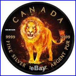 2018 1 Oz Silver BURNING WILDLIFE LION Maple Leaf Ruthenium Coin WITH 24K GOLD