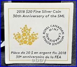 2018 $20 Canada 1 oz Reverse Proof Silver Maple Leaf, NGC PF70, 30th Anniv. FDI