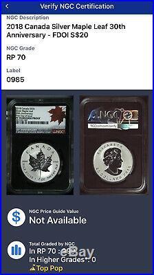 2018 $20 Canada 1 oz Reverse Proof Silver Maple PF70 FDI 30th Anniversary
