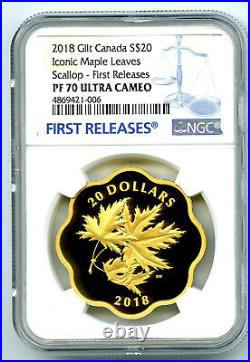 2018 $20 Canada Gold Gilt Silver Ngc Pf70 Masters Club Iconic Maple Leaves Fr