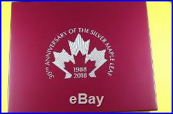2018 30th Anniversary Canadian Silver Maple Leaf 3oz Set WithOGP & COA