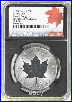 2018 $5 Canada Silver Maple Leaf NGC MS 70 FDOP