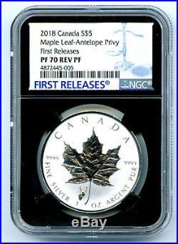 2018 $5 Canada Silver Maple Leaf Ngc Pf70 Antelope Privy Rev Proof Fr Pop 5
