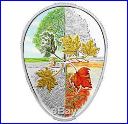 2018 CA Four Seasons Maple Leaf Egg Shaped 1 oz Silver Gilt Proof $20 SKU54833