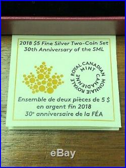 2018 CANADA FINE SILVER $5 TWO COIN SET 30TH ANNIV. OF MAPLE LEAF IN BOX With COA