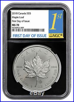 2018 Canada 1 oz Silver Maple Leaf $5 Coin NGC MS70 FDI Black Core SKU52121