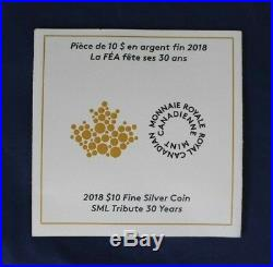2018 Canada 2oz Silver Proof coin SML Maple Leaf in Case with COA (AB5/6)