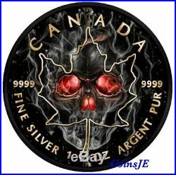 2018 Canada SMOKED SKULL Maple Leaf 1 Oz. 9999 Ruthenium & Gold Silver Coin