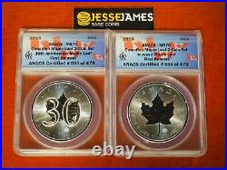 2018 Canada Silver Maple Leaf Anacs Ms70 Incused & 30th Anniversary 2 Coin Set