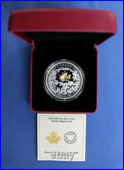 2018 Canada Silver Proof $30 coin Golden Maple Leaf in Case with COA