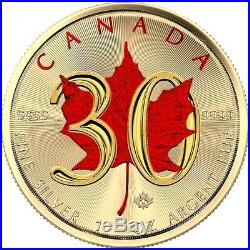 2018 Canadian Maple Leaf 30 Years Edition 1 Oz. 9999 Colored Gilded Silver Coin