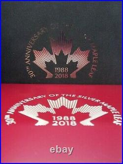 2018 Canadian Maple Leaf 30th Anniversary 3oz. 9999 Silver Coin & Bar Set #CF