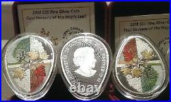 2018 Four Seasons Maple Leaf Cycle Egg-shaped $20 1OZ Silver Proof Canada Coin