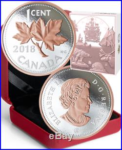 2018 Penny Big Coin Maple Leaf 1-Cent 5OZ Pure Silver Proof Coin Canada