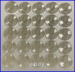 2018 Roll of (25) Canada Silver Maple Leaf 30th Anniversary Coins Original Tube