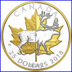 2018 Timeless Iconic Piedfort $25 1OZ Pure Silver Coin Canada Maple Leaf Caribou