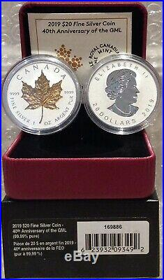 2019 40th Anniversary Gold Maple Leaf GML $20 1OZ Silver Proof Coin Canada