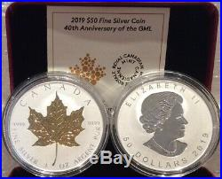 2019 40th Anniversary Gold Maple Leaf GML $50 3OZ Silver Proof Coin Canada