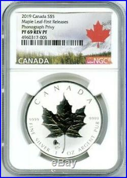 2019 $5 Canada 1oz Silver Maple Leaf Ngc Pf69 Phonograph Privy Reverse Proof Fr