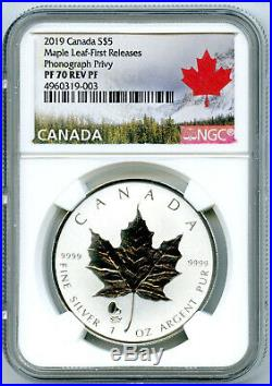 2019 $5 Canada 1oz Silver Maple Leaf Ngc Pf70 Phonograph Privy Reverse Proof Fr