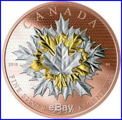 2019 5 Oz Silver $50 Canadian MAPLE LEAVES IN MOTION Coin