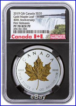 2019 Canada 1oz Silver Maple Leaf Incuse Gilt Reverse NGC PF70 FR Black SKU57230