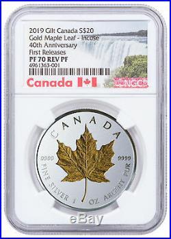 2019 Canada 1oz Silver Maple Leaf Incuse Gilt Reverse Proof NGC PF70 FR SKU57228