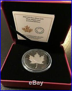 2019 Canada 2 oz Silver Maple Leaf Black Rhodium $10 Proof with OGP