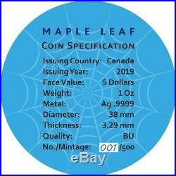 2019 Canada 5$ Maple Leaf Bejeweled SPIDER 1 Oz Silver Coin 500 pcs only PRESALE