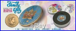 2019 Canada 5$ Maple Leaf Family Day 1 Oz Bejeweled Silver Coin 500pcs Limited