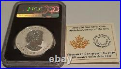2019 Gold Maple Leaf Incuse $20 1OZ Silver Coin NGC PF70 1st Day Issue & RCM COA