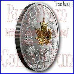 2019 Masters Club Golden 3D Maple Leaf $15 Pure Silver Proof Coin Canada