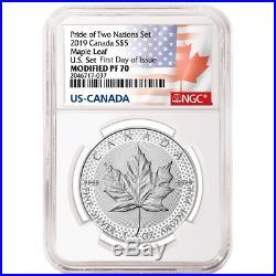 2019 Modified Proof $5 Silver Canadian Maple Leaf NGC PF70UC FDI Flags Label Pri