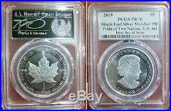 2019 SILVER CANADA MAPLE LEAF MODIFIED PR PRIDE OF TWO NATIONS PCGS PR701st day
