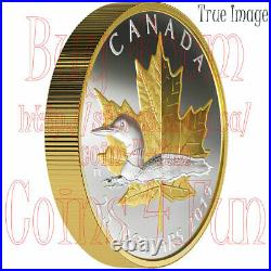 2019 Timeless Icons#3 Loon Maple Leaf $25 Pure Silver Proof Piedfort Coin