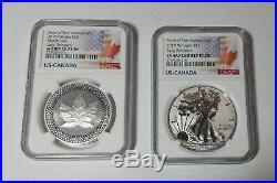 2019 Us-canada Pride Of Two Nations Set Ngc Reverse Silver Eagle & $5 Maple Leaf