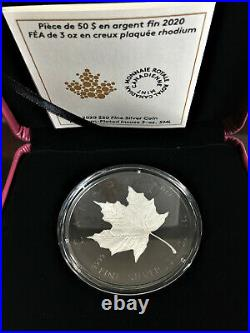2020 3 oz Silver Coin Rhodium-Plated Incuse Silver Maple Leaf With Box COA