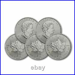 2020 CA CA Canada Lot of (5) 1 oz Silver Maple Leaf BU $5 Brilliant Uncirculated