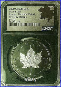 2020 CANADA $20 MAPLE LEAF INCUSE RHODIUM PLATED 1 Oz NGC PF70 FDOI