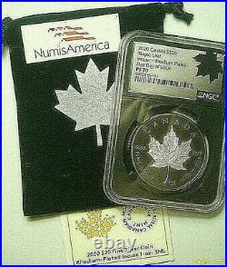2020 CANADA $20 MAPLE LEAF INCUSE RHODIUM PLATED BLACK 1 Oz SILVER NGC PF70 FDI