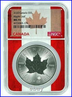2020 CANADA $5 MAPLE LEAF SILVER 1 Oz NGC MS 70 QUALITY FLAG CORE