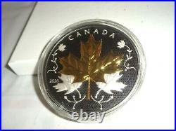 2020 CANADA $50 5 Oz. 999 Silver Coin with Rhodium Maple Leaves in Motion 1000