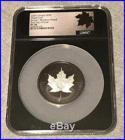 2020 CANADA $50 MAPLE LEAF INCUSE RHODIUM PLATED 3 Oz NGC PF70 FDOI