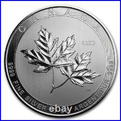 2020 Canada 10 oz Silver $50 Magnificent Maple Leaves BU