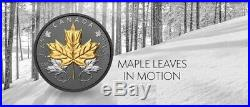 2020 Canada 5 oz. Pure Silver Coin with Rhodium Maple Leaves in Motion